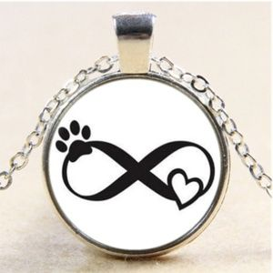 Necklace- NEW- Dog Cat Paw Print Forever Love
